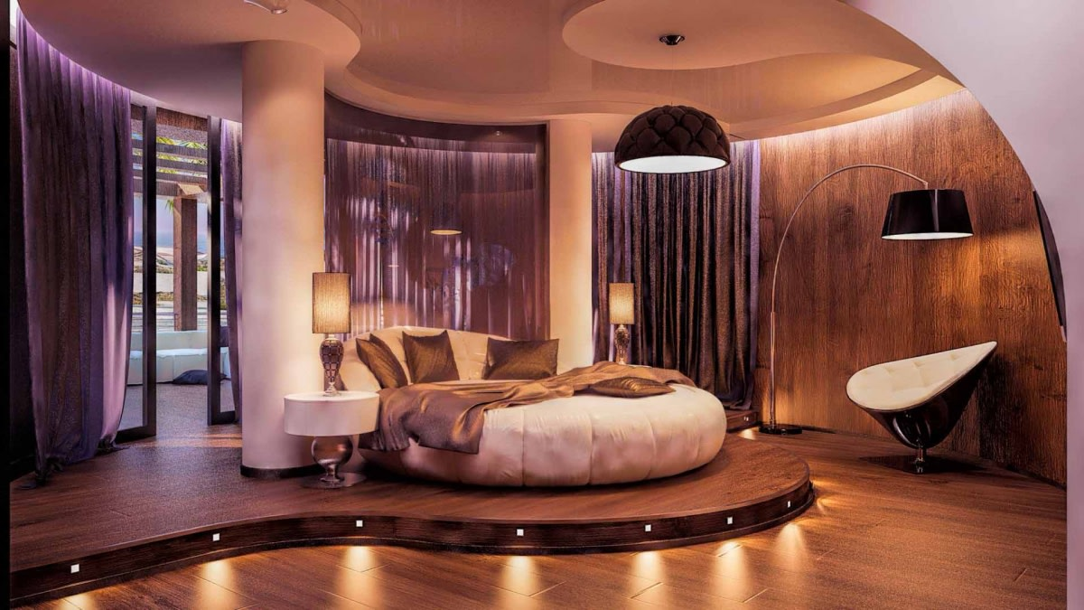 Luxury Bedroom With Round Bulky Bed And Wooden Flooring by Hemant Sahni Bedroom Modern | Interior Design Photos & Ideas