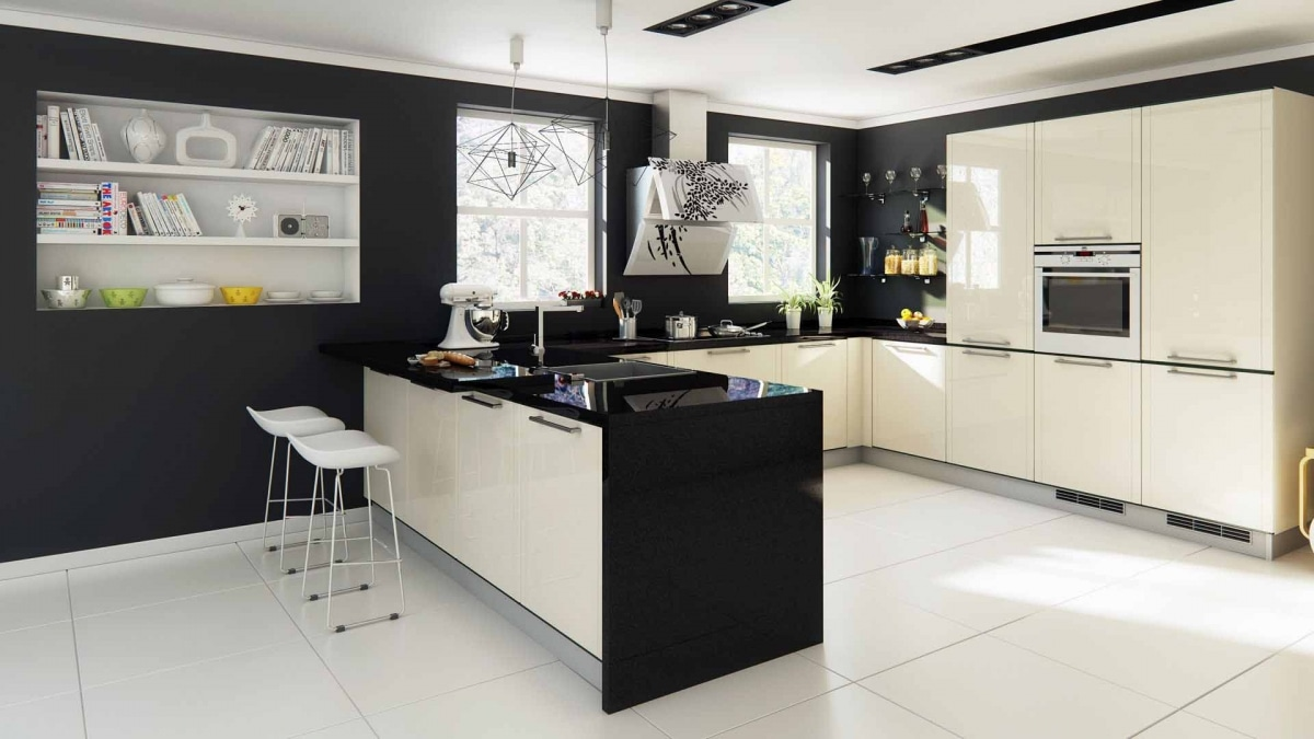 Beige Shade Wooden Cabinets With Marble Top In Kitchen by Hemant Sahni Modular-kitchen Contemporary | Interior Design Photos & Ideas