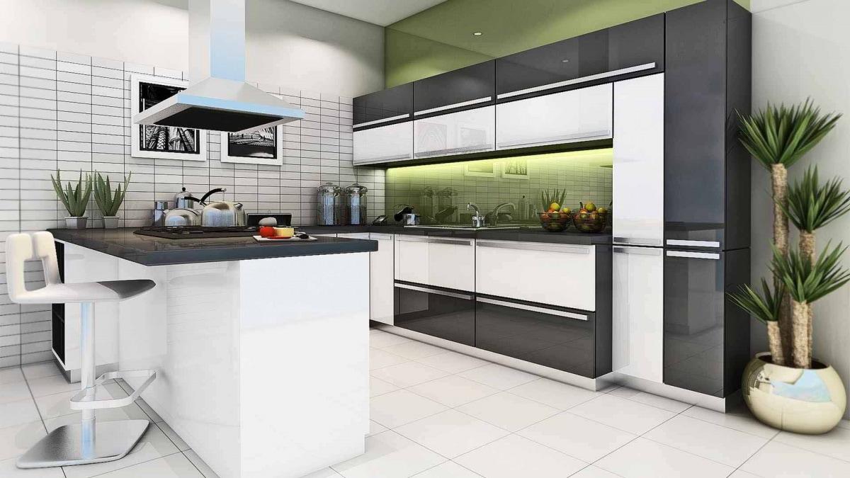 Black And White Theme Kitchen Interiors With Modern Appliances by Hemant Sahni Modular-kitchen Modern | Interior Design Photos & Ideas