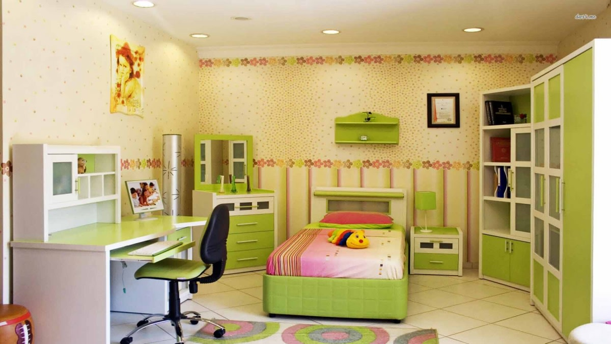 Kids Bedroom With Green Shade Cabinets And Wooden Study Table by Hemant Sahni Bedroom Modern | Interior Design Photos & Ideas