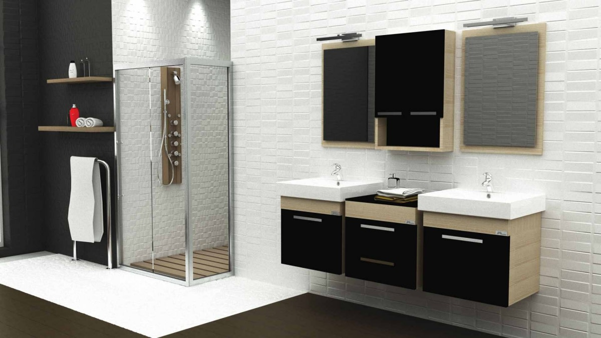 Wooden Sectional Cabinets And Glass Enclosure In Bathroom by Hemant Sahni Modern | Interior Design Photos & Ideas