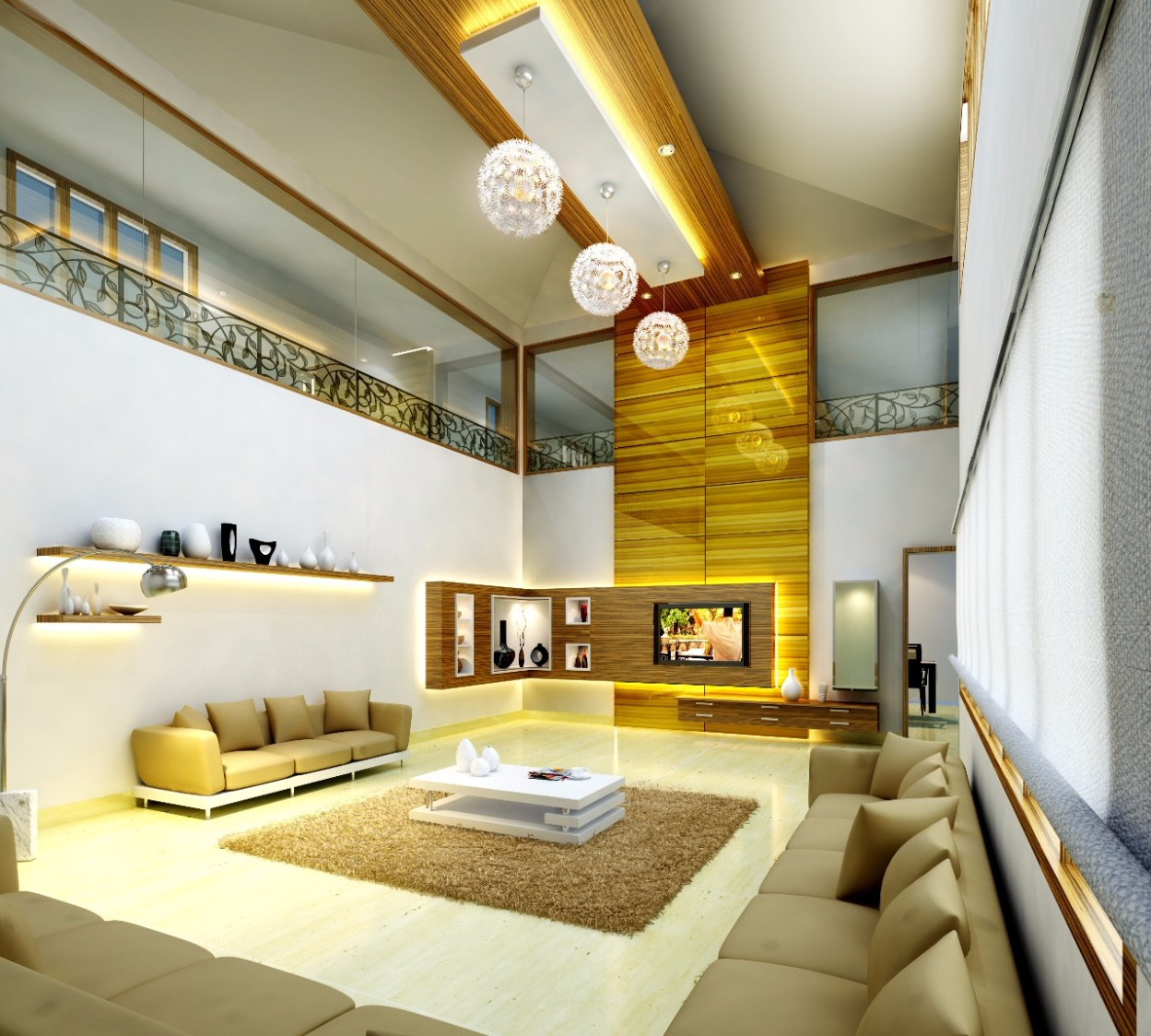 White Smoke Living Room With Golden Touch by Jerry Meshach J Living-room Modern   Interior Design Photos & Ideas