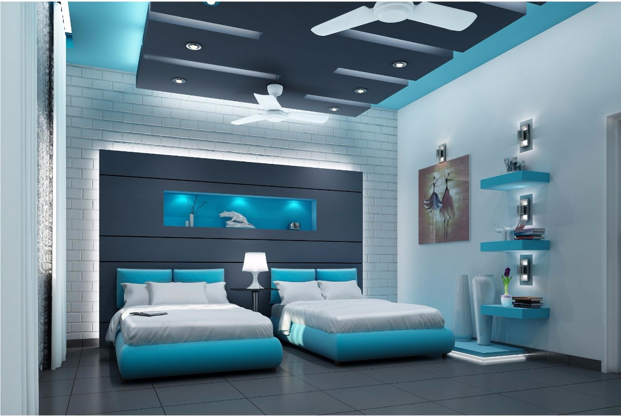 Deep Sky Blue And White Themed Bedroom by Jerry Meshach J Bedroom Contemporary   Interior Design Photos & Ideas