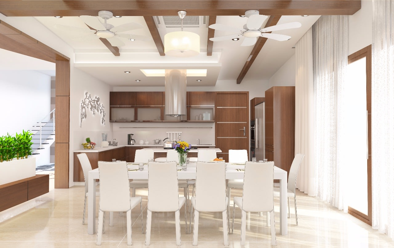 Pecan Shaded Dining Room With White Chairs by Jerry Meshach J Dining-room Modern | Interior Design Photos & Ideas