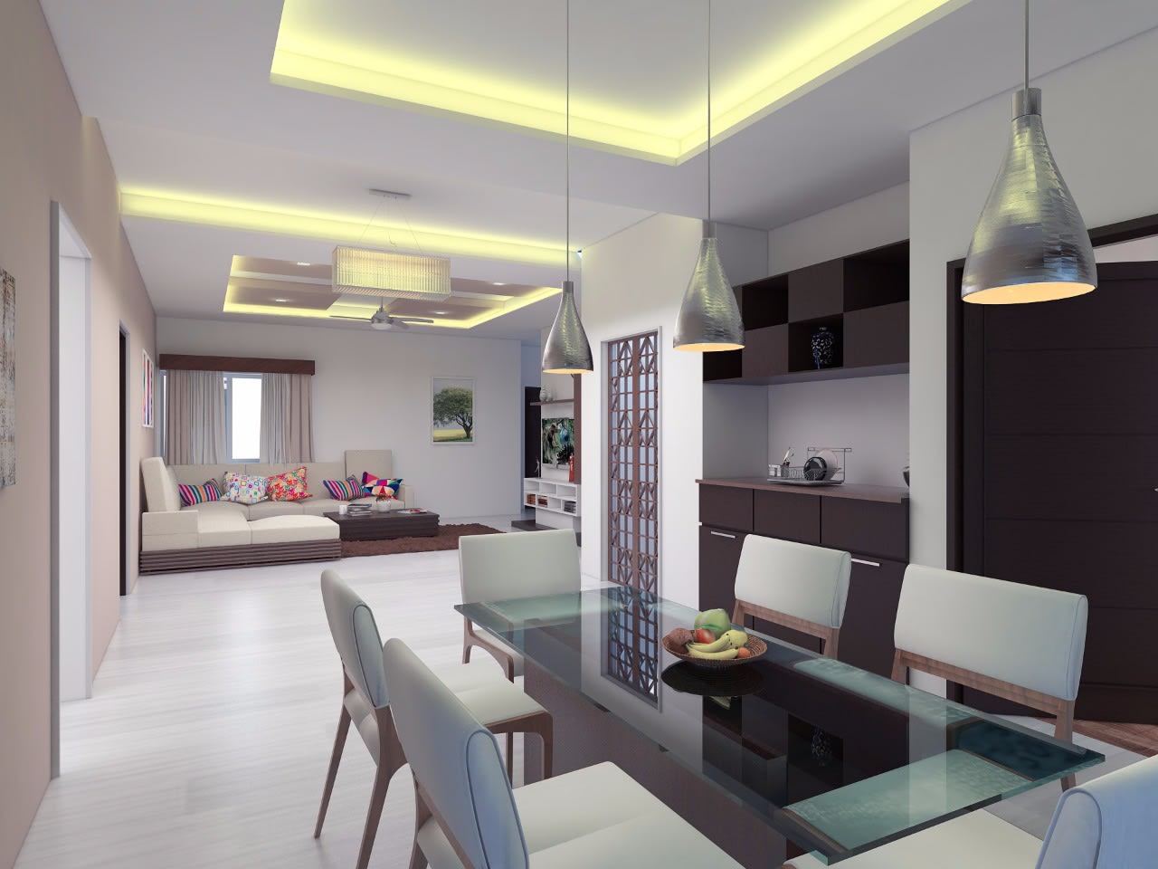 Pearl White Dining Room With Hanging Light by Jerry Meshach J Dining-room Modern | Interior Design Photos & Ideas
