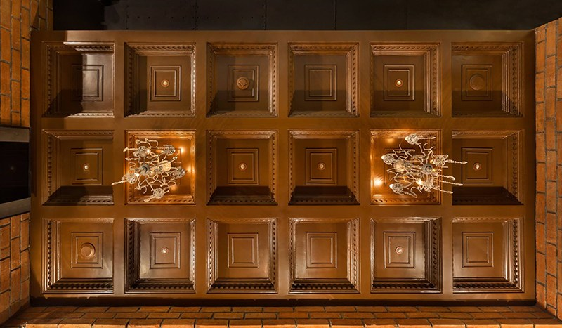 Wooden Square Design 3D Ceiling by Namah Design Studio  | Interior Design Photos & Ideas