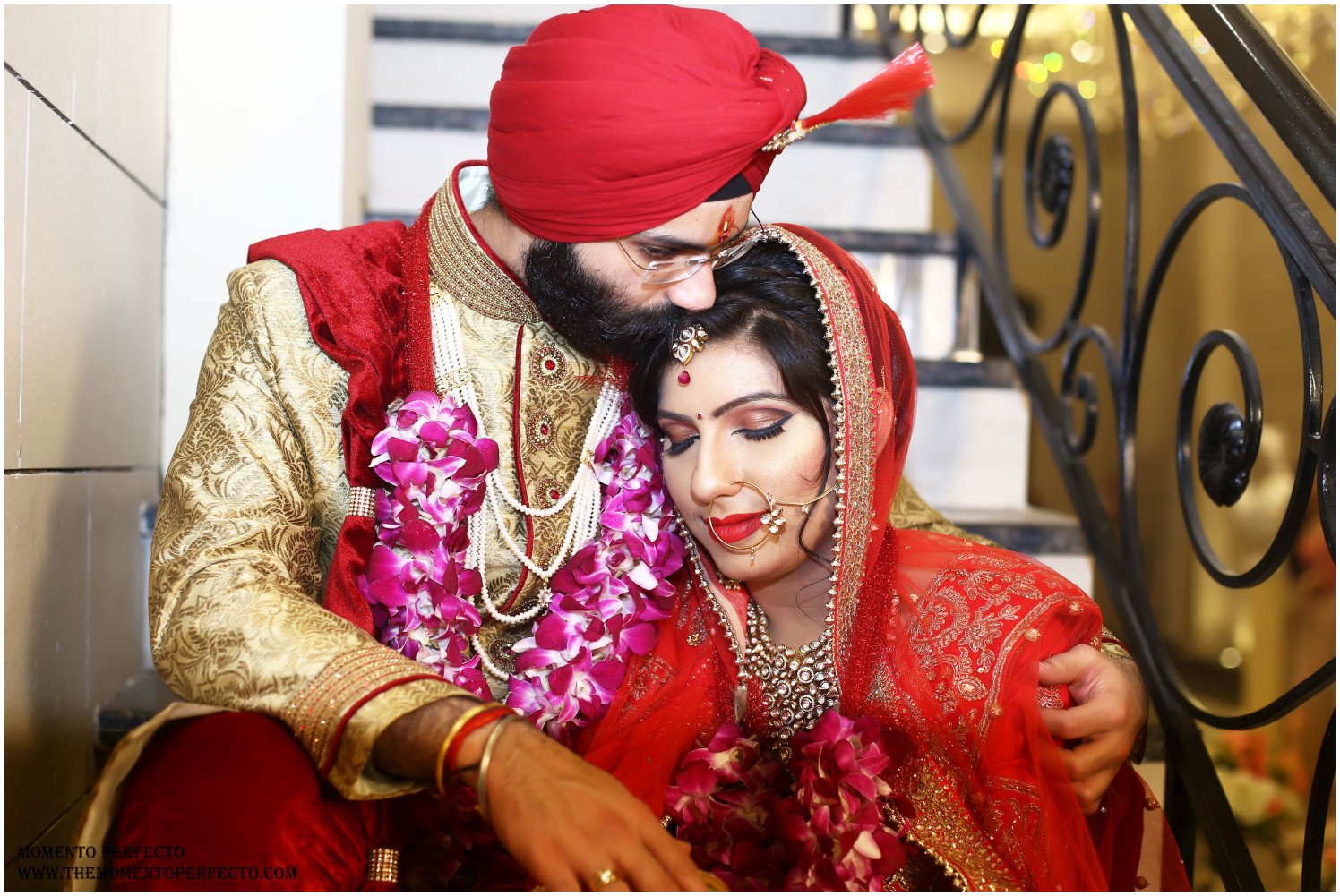 Handsome Groom In Golden Sherwani And Red Silk Turban With Golden Intricate Embroidery by Preeti Sharma Wedding-photography Groom-wear-and-accessories Bridal-jewellery-and-accessories Bridal-makeup | Weddings Photos & Ideas