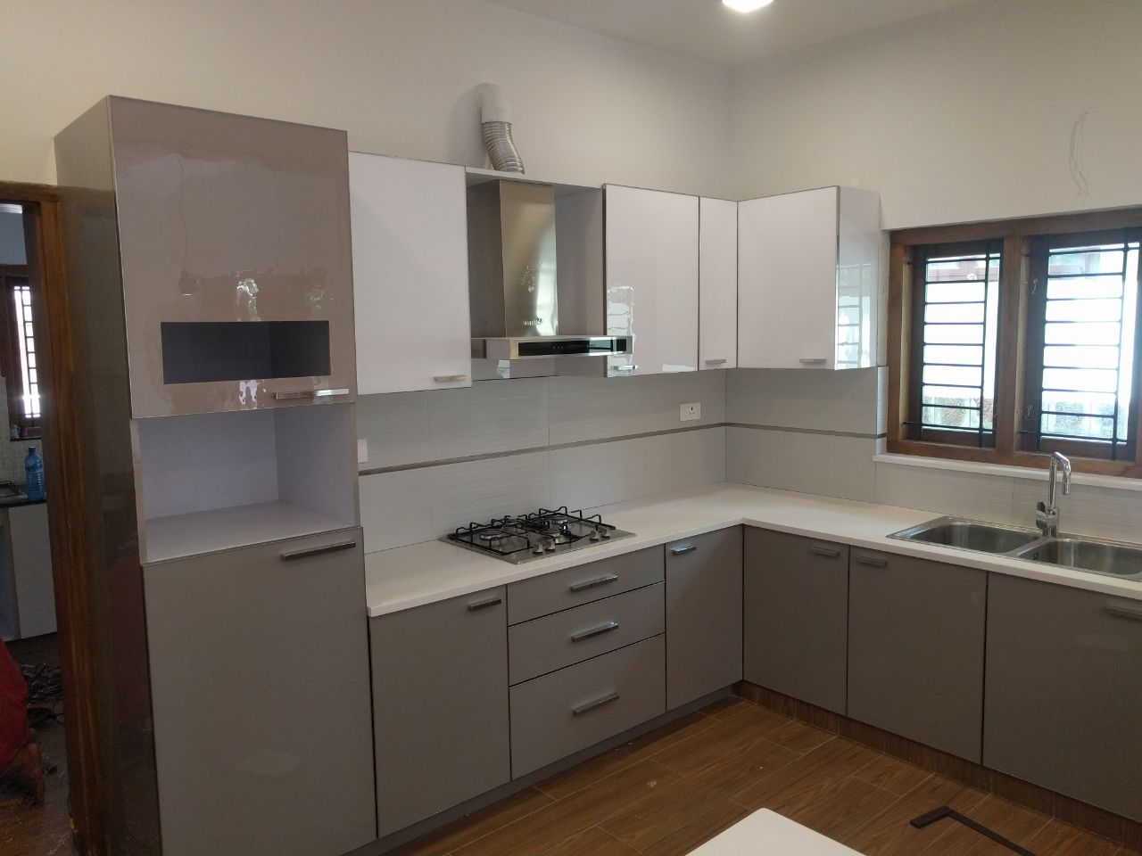 White And Grey Modular Kitchen With L Shaped Counter By Designers5  Interiors Bangalore Modular Kitchen