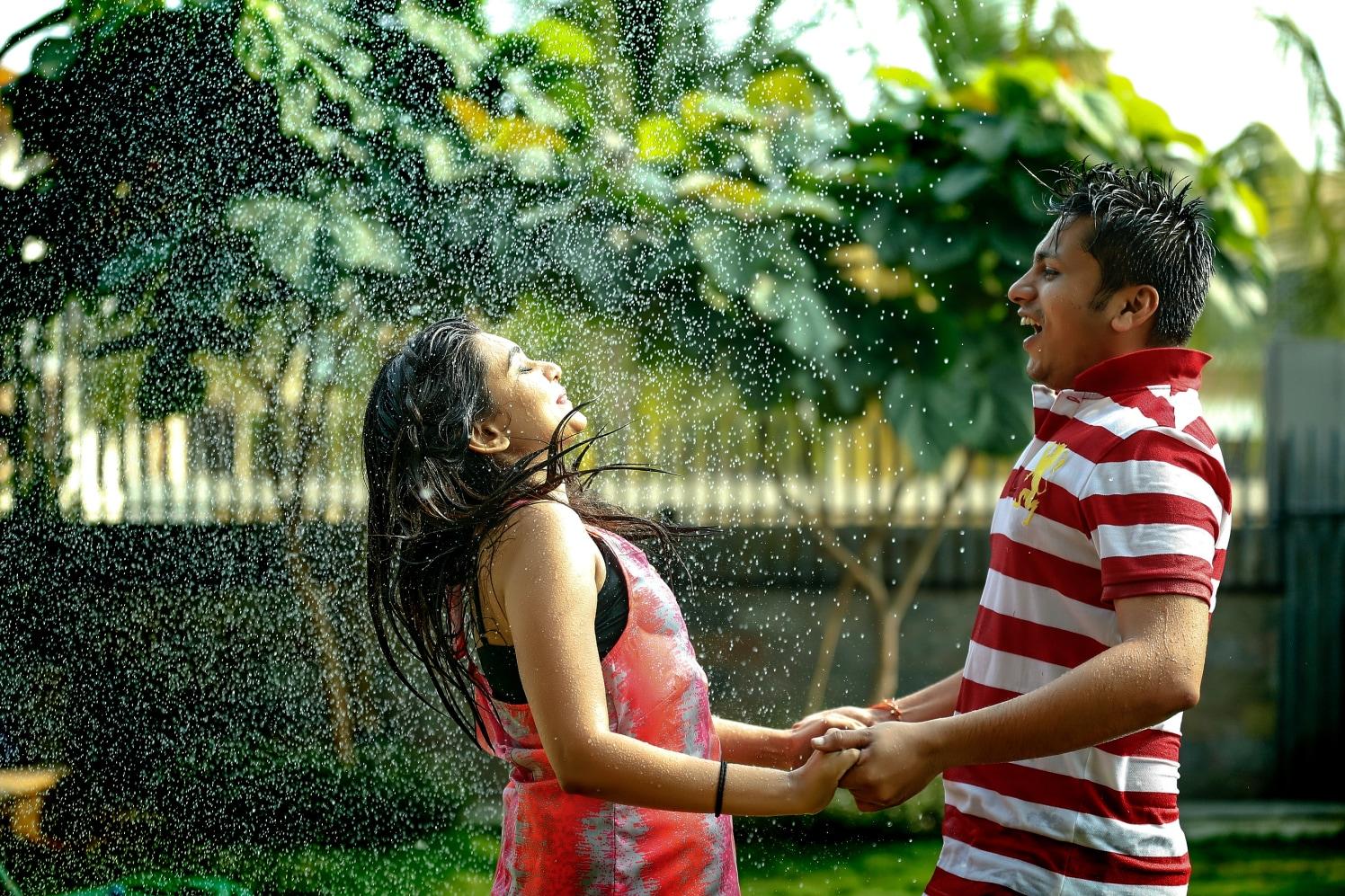 Enjoying shower together by Shobha Dhillon Wedding-photography | Weddings Photos & Ideas