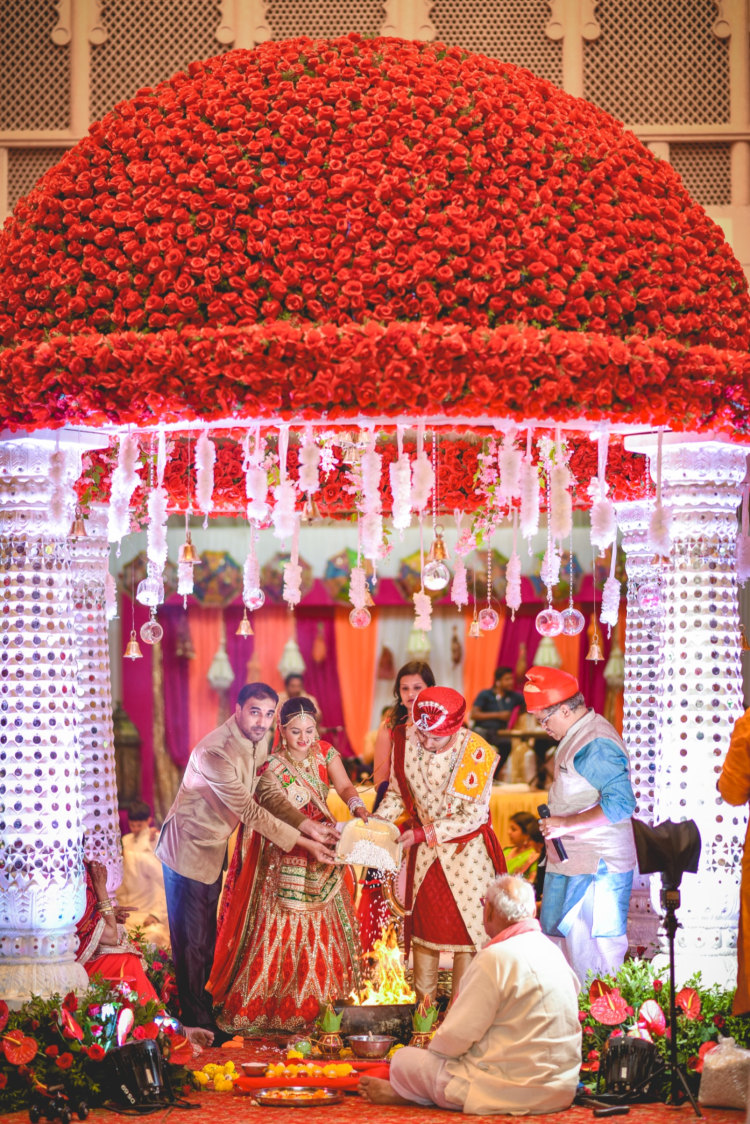 Floral Wedding  Mandap Top With Mirror Pillars by Aniket Kanitkar Wedding-photography Wedding-decor | Weddings Photos & Ideas