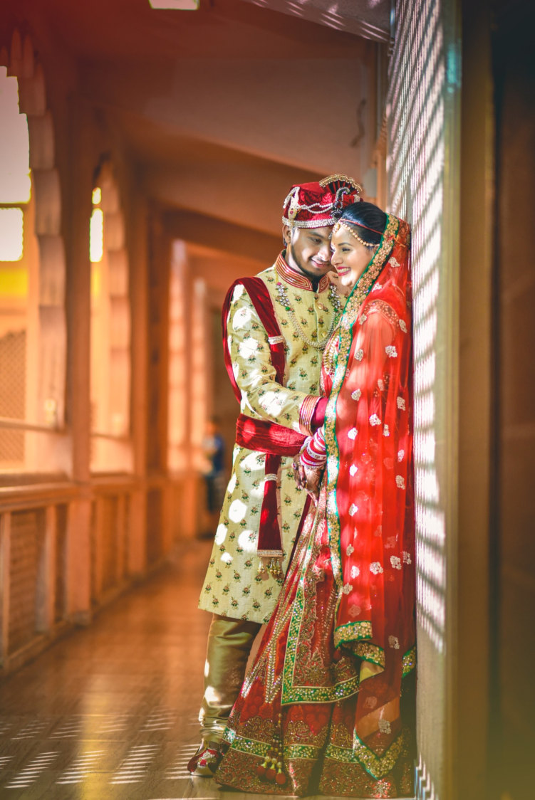 Handsome Groom In Golden Sherwani And Red Silk Turban With Golden Intricate Embroidery by Aniket Kanitkar Wedding-photography | Weddings Photos & Ideas