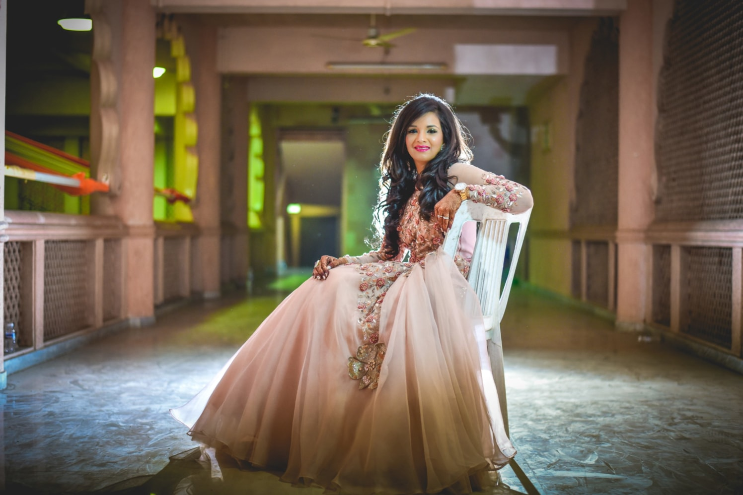 Bride In Peach Pink  Gown With Floral Embroidery by Aniket Kanitkar Wedding-photography Wedding-dresses | Weddings Photos & Ideas