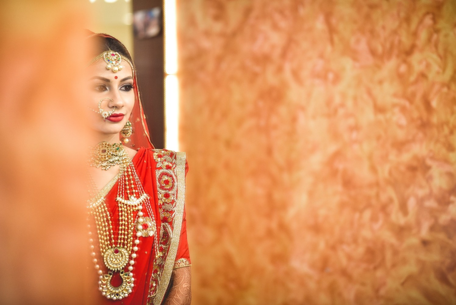 Splendid Bride With Bold Red Lips by Aniket Kanitkar Wedding-photography Bridal-jewellery-and-accessories Bridal-makeup | Weddings Photos & Ideas