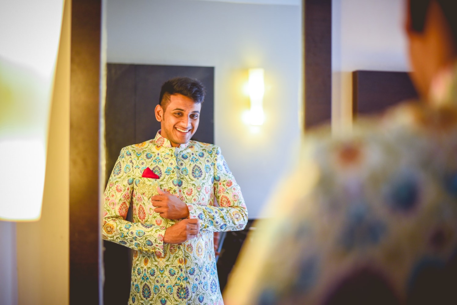 Groom Wearing Colorful Patterned Sherwani by Aniket Kanitkar Wedding-photography Wedding-dresses   Weddings Photos & Ideas