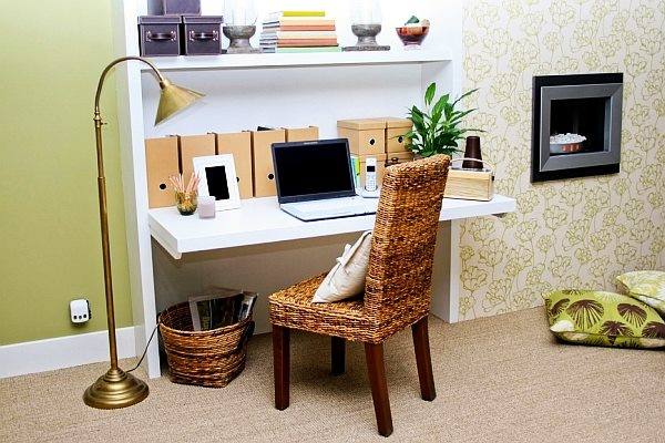 Honeydew Study Table With Textured Wall by Jyoti Yadav Bedroom Modern | Interior Design Photos & Ideas