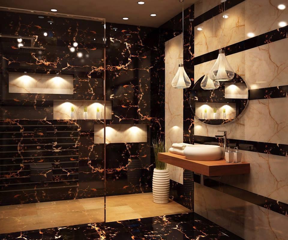 Artistic Bathroom With Texture by Jyoti Yadav Bathroom Modern | Interior Design Photos & Ideas