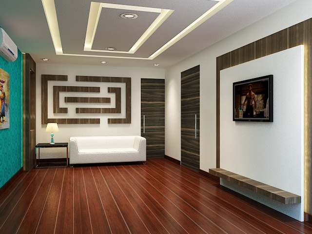 Spacious brown floored living room by Spaces Talk Living-room Contemporary | Interior Design Photos & Ideas