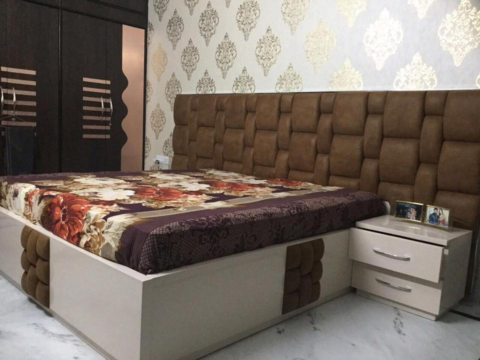White Low Floor Bed and Brown Leather Headboard by Deepanshu Gandhi Bedroom Contemporary | Interior Design Photos & Ideas
