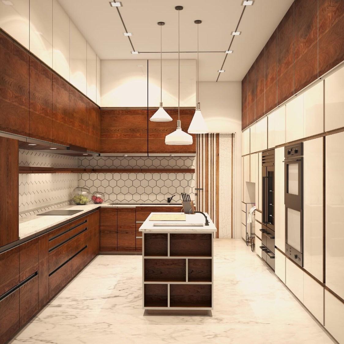 Well Lit Modular Kitchen With Walnut Brown Shaded Wooden Cabinets by Neha Chopra Modular-kitchen Modern | Interior Design Photos & Ideas