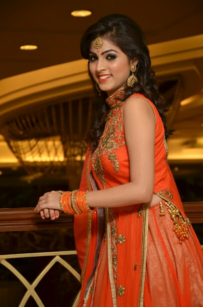 Bride Wearing Orange Dress And Golden Accessories by Riddhi Photography Wedding-photography | Weddings Photos & Ideas