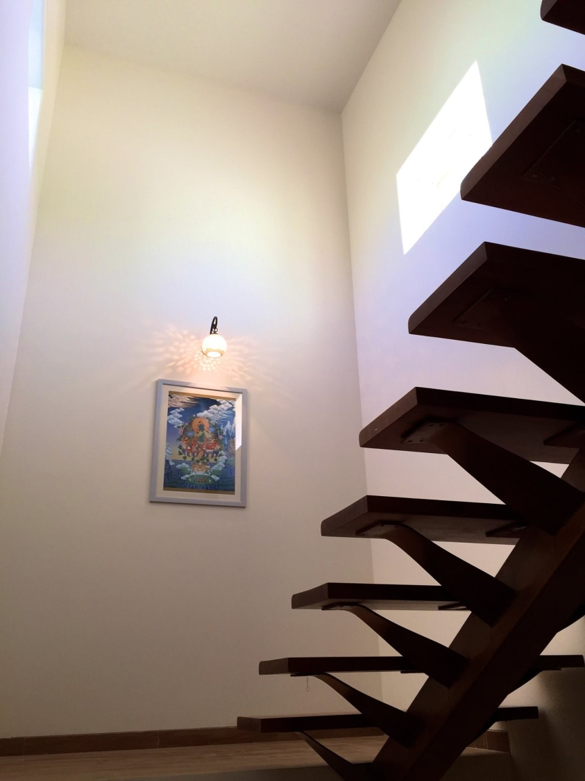 Wood Finished Staircase with Wall art by Viraf Laskari  Indoor-spaces Minimalistic | Interior Design Photos & Ideas