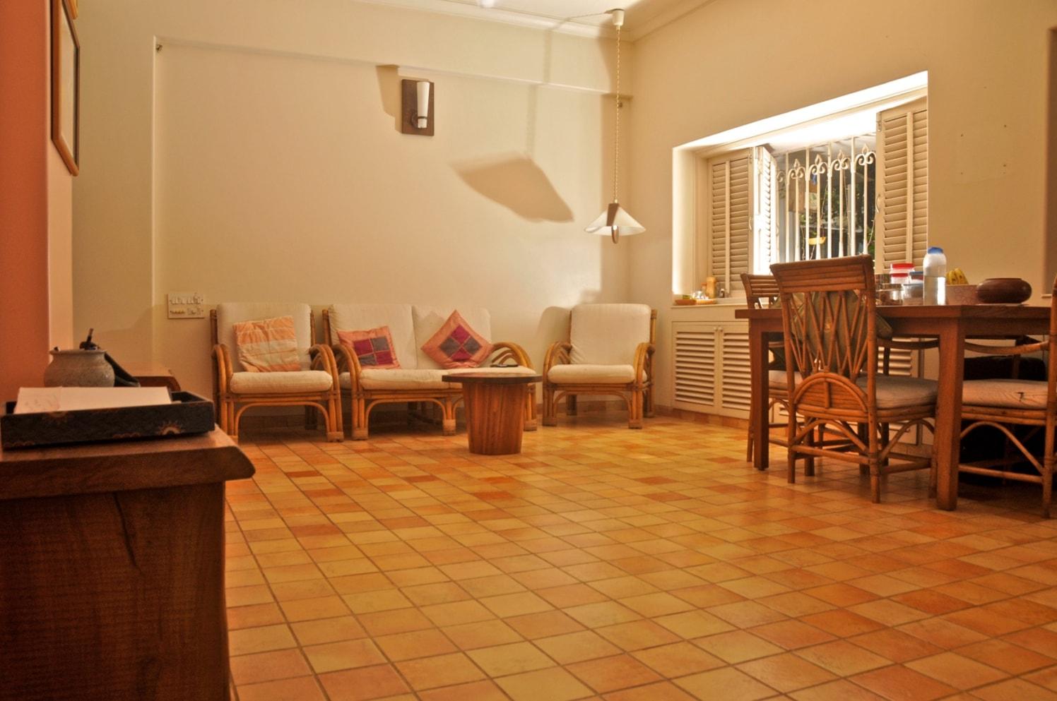 Wooden Themed Living Room with Tiled FLooring by Viraf Laskari  Living-room Contemporary | Interior Design Photos & Ideas