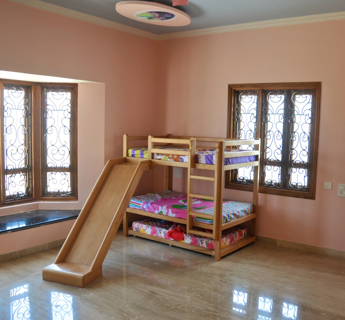 Wooden Bunk Bed With Slide For Kid's Bedroom by Viraf Laskari  Bedroom Contemporary | Interior Design Photos & Ideas