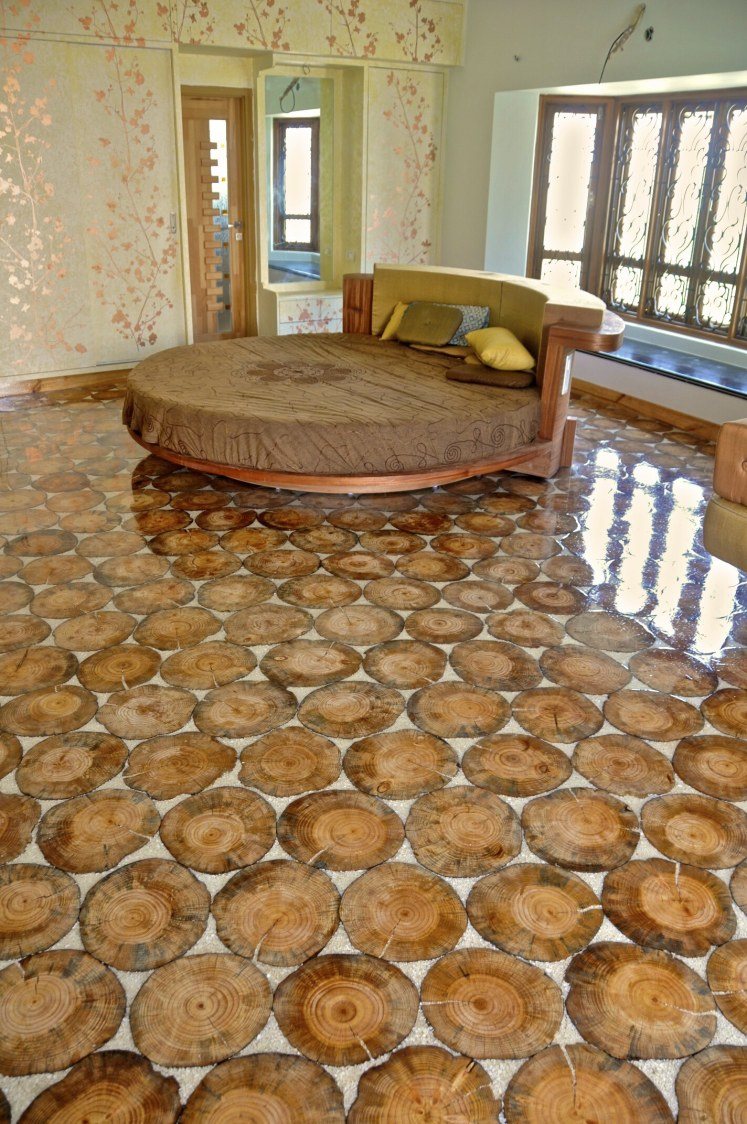 Velvet Round Bed With Artistic Marble Flooring by Viraf Laskari  Bedroom Contemporary | Interior Design Photos & Ideas