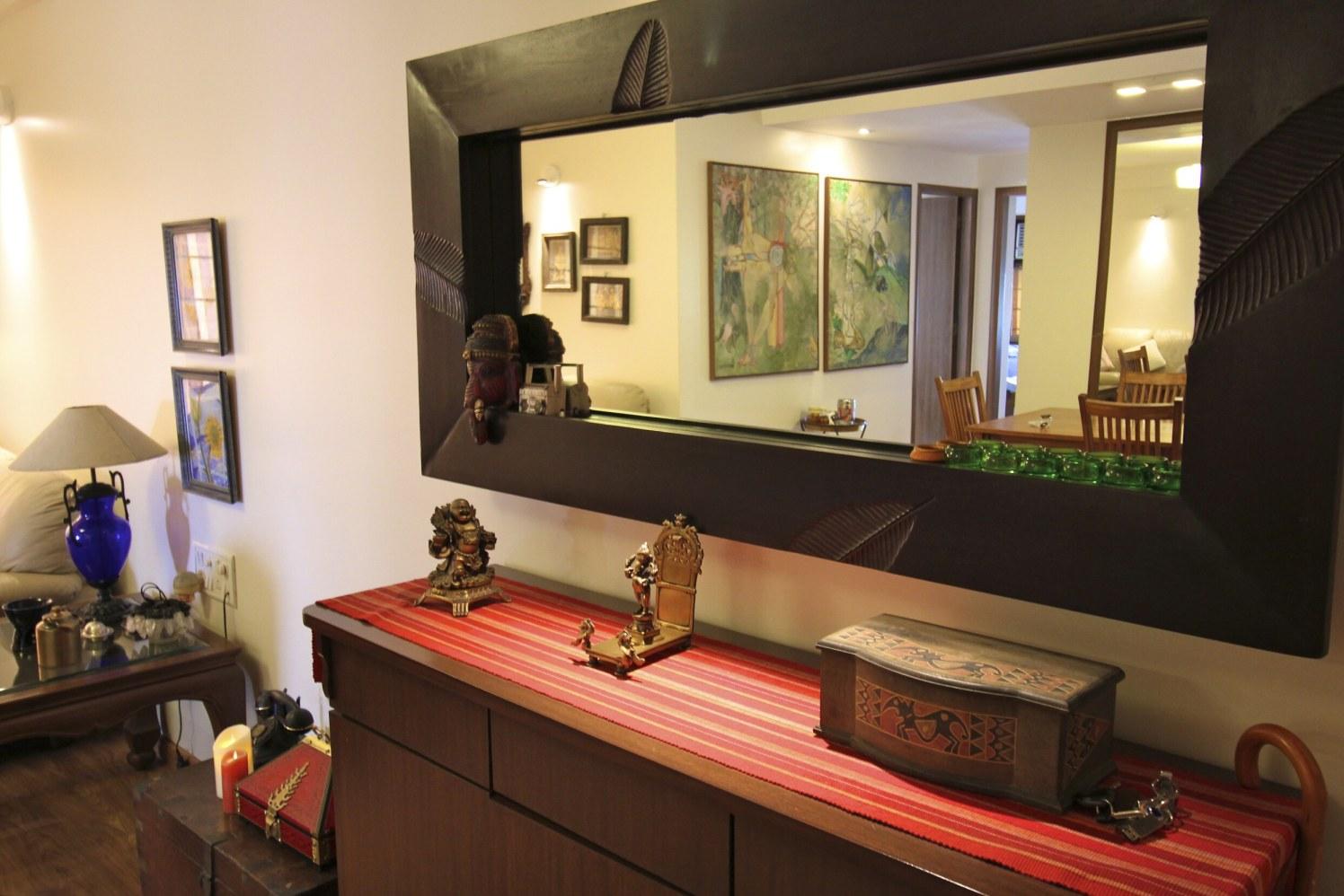 Walnut Brown Wooden Display Unit With Wood Designed Mirror by Viraf Laskari  Living-room Contemporary   Interior Design Photos & Ideas