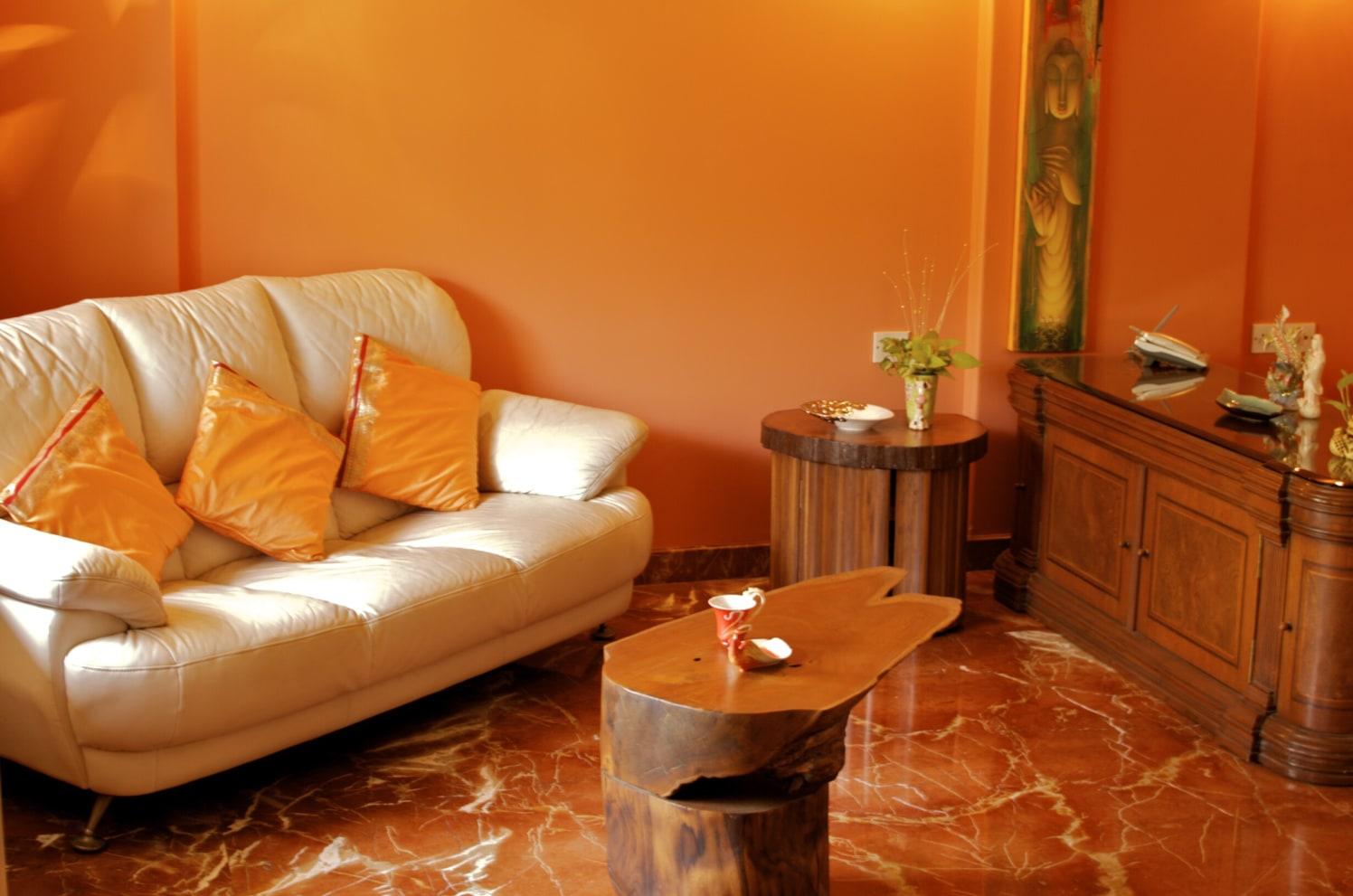 Stunning Living Room with White Sofa, Orange Patterned marble Flooring by Viraf Laskari  Living-room Contemporary | Interior Design Photos & Ideas