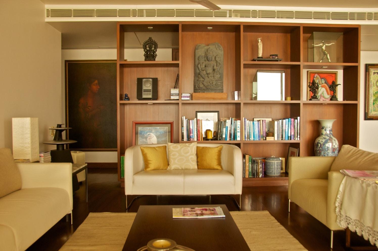 Creamy Sofa Set with Walnut Brown Display Unit by Viraf Laskari  Living-room Contemporary | Interior Design Photos & Ideas