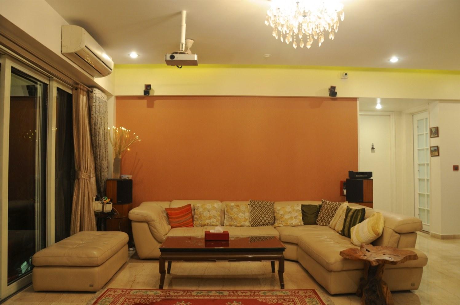 Creamy L Shaped Sofa Set With False Ceiling And Orange Wall by Viraf Laskari  Living-room Contemporary | Interior Design Photos & Ideas