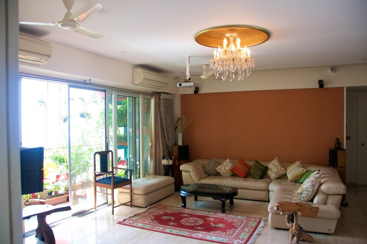 Spacious Living Room With L Shaped Creamy Sofa Set by Viraf Laskari  Living-room Contemporary | Interior Design Photos & Ideas