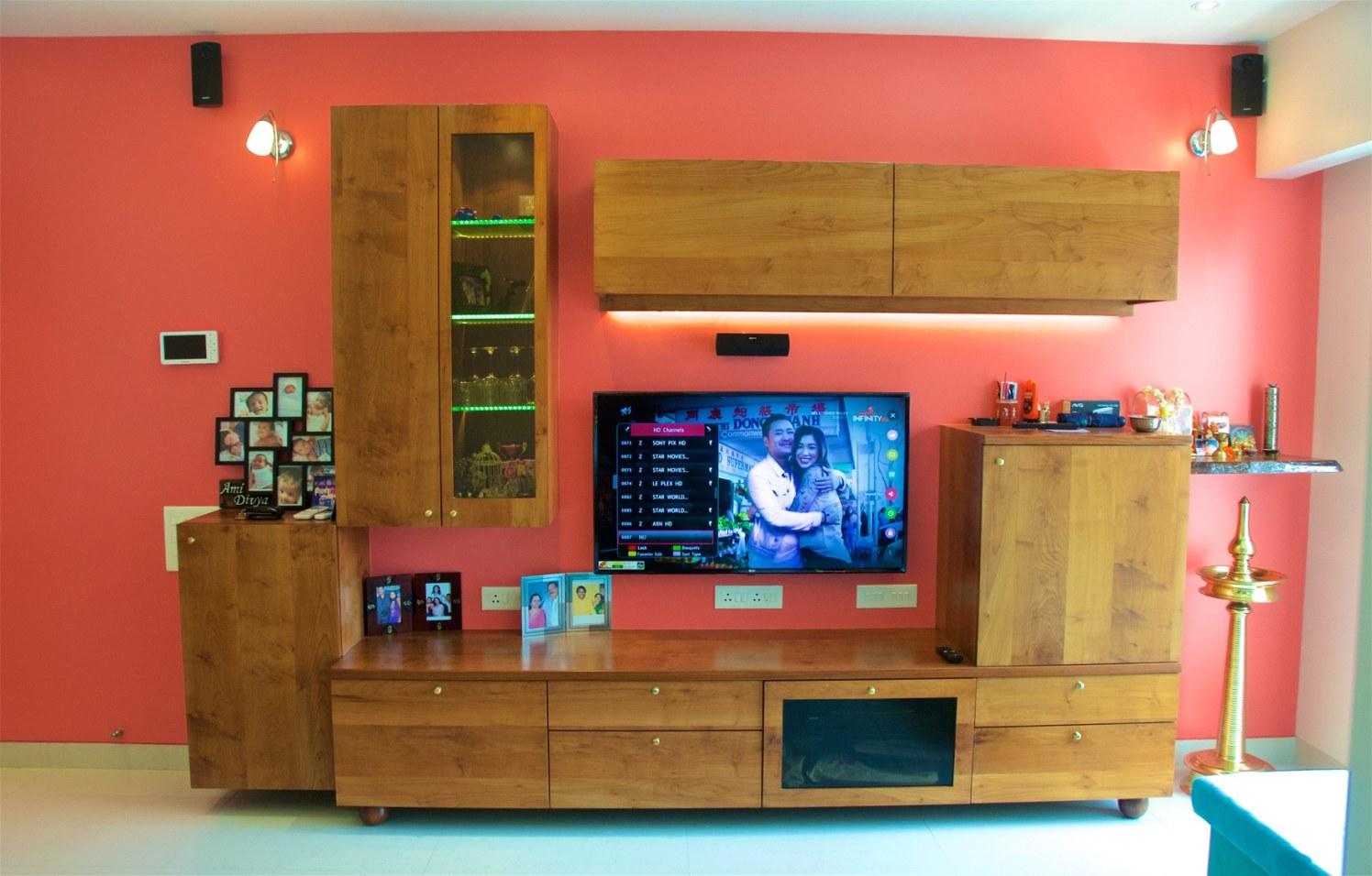Wooden Tv Unit with Pink Wall by Viraf Laskari  Living-room Contemporary | Interior Design Photos & Ideas