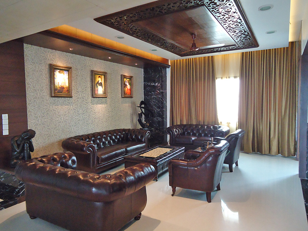 Lavish Living Room With Chocolate Colored Furniture by Nidhi Challani Metha Living-room Contemporary | Interior Design Photos & Ideas
