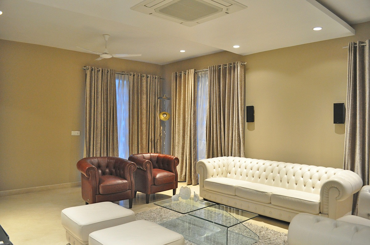 Contemporary Living With Cream Sofa by Nidhi Challani Metha Living-room Contemporary | Interior Design Photos & Ideas