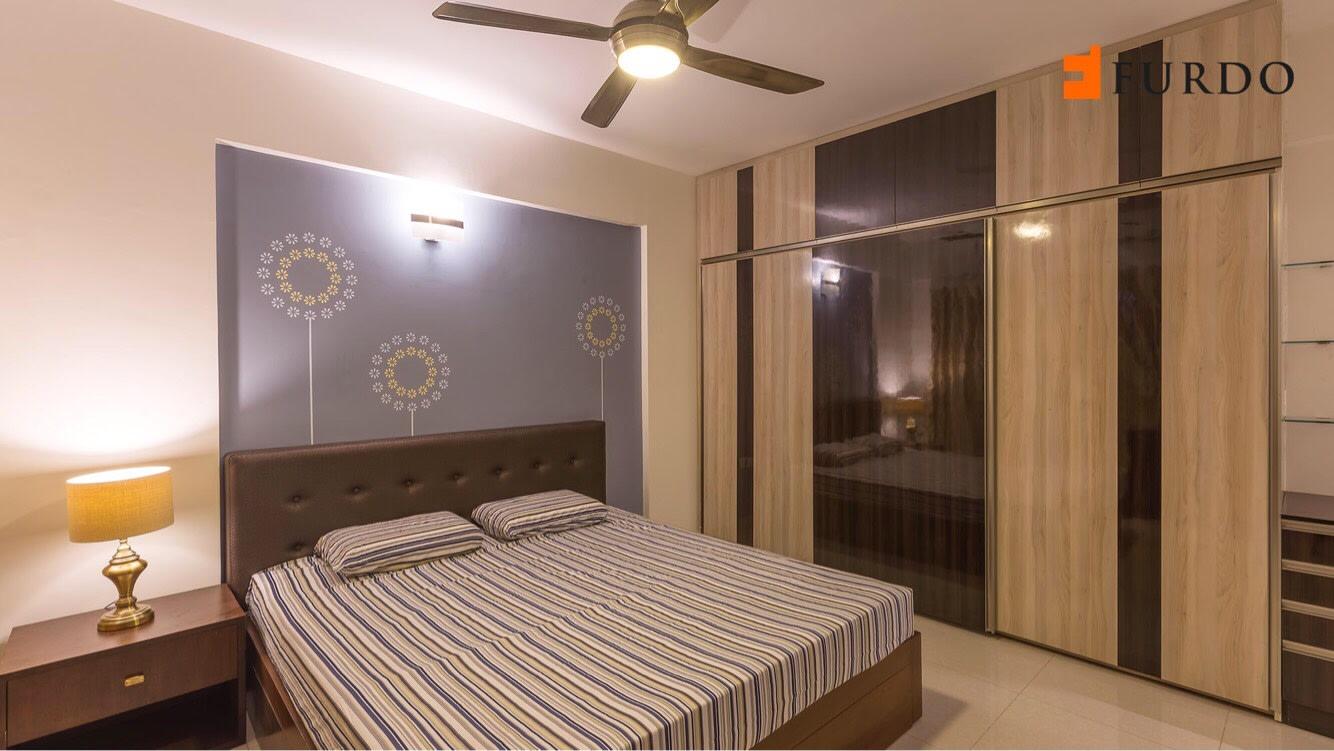 Bedroom With Wooden Wardrobe And marble flooring by Furdo.com Bedroom Modern | Interior Design Photos & Ideas