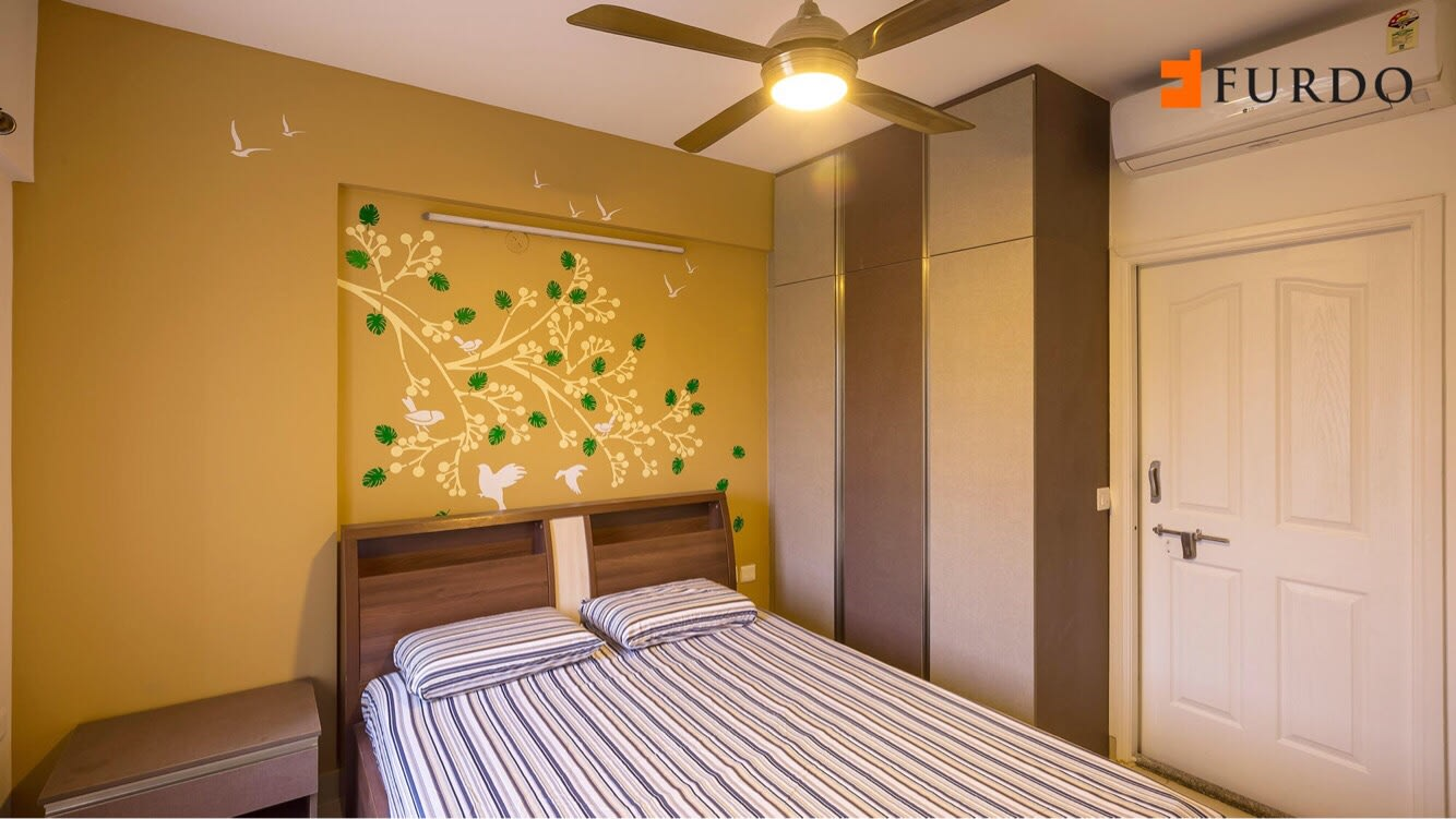 Bedroom With Antique Fan And Yellow Wall Art by Furdo.com Bedroom Modern | Interior Design Photos & Ideas