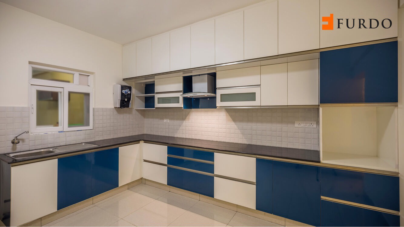 L shape kitchen with blue & white cabinets by Furdo.com Modular-kitchen Modern | Interior Design Photos & Ideas