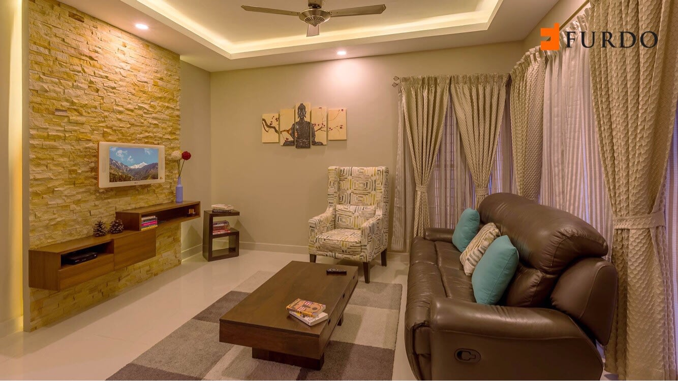 Living Room With Wall Art And Brown Bulky Sofa by Furdo.com Living-room Contemporary | Interior Design Photos & Ideas