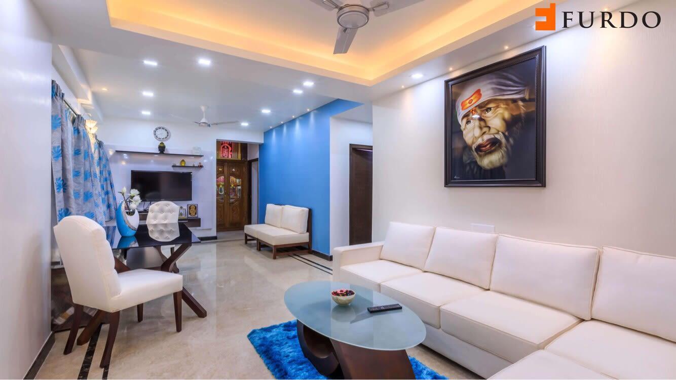Living Room With Pale Shade Sofa And Glass Top Center Table by Furdo.com Living-room Contemporary | Interior Design Photos & Ideas