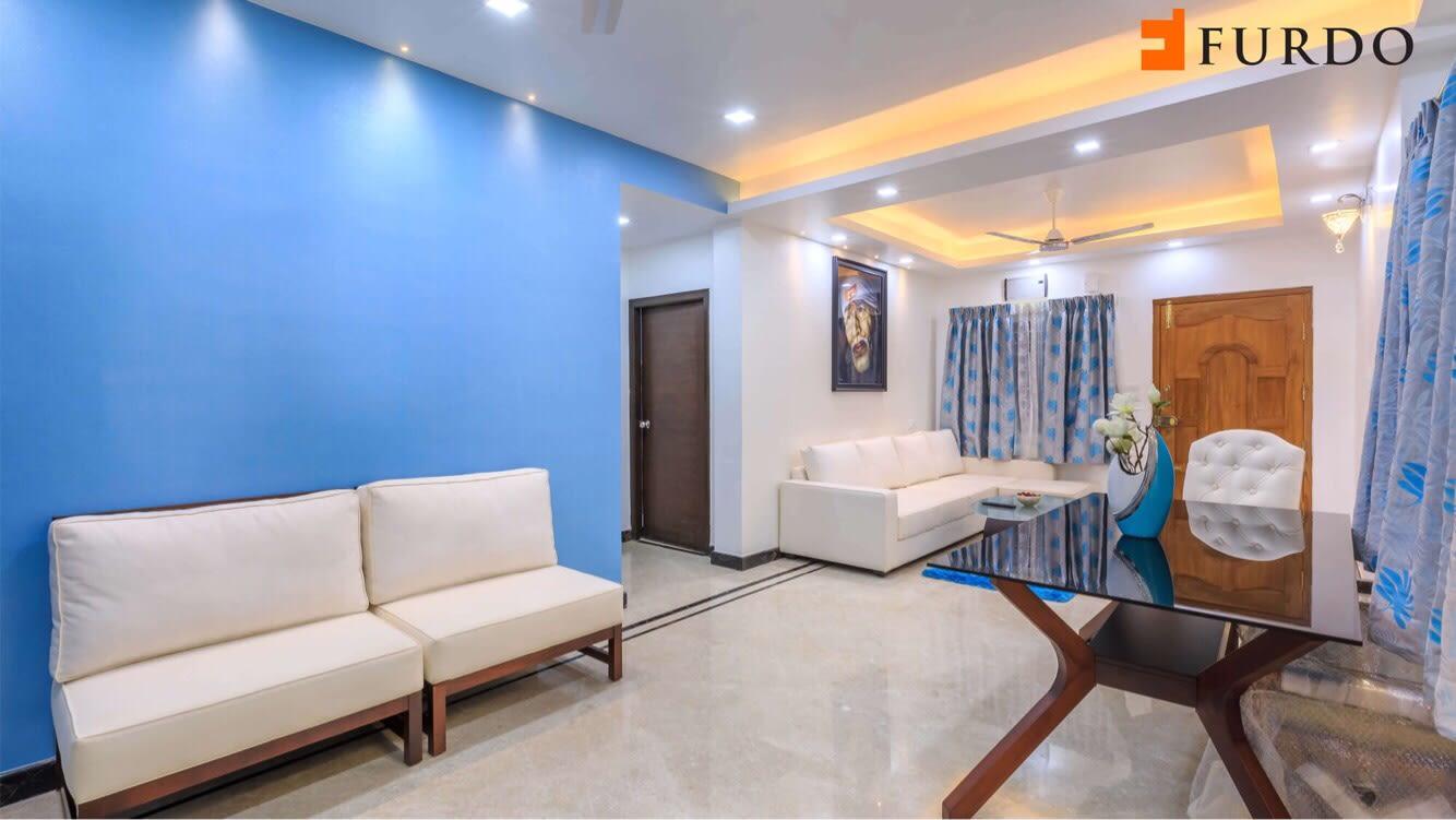 White Sofa Set With Blue Wall and marble flooring by Furdo.com Living-room Contemporary | Interior Design Photos & Ideas