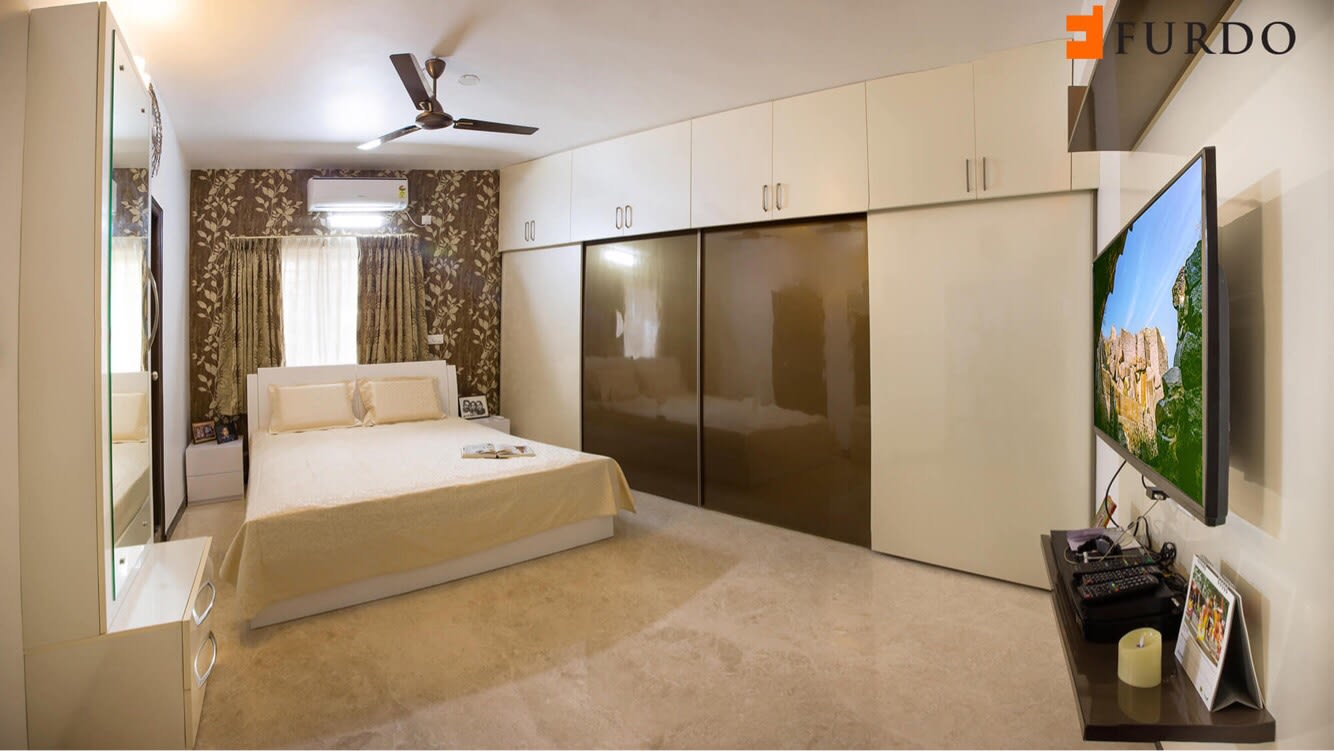 Master Bedroom With Wooden Wardrobe and marble flooring by Furdo.com Bedroom Modern | Interior Design Photos & Ideas