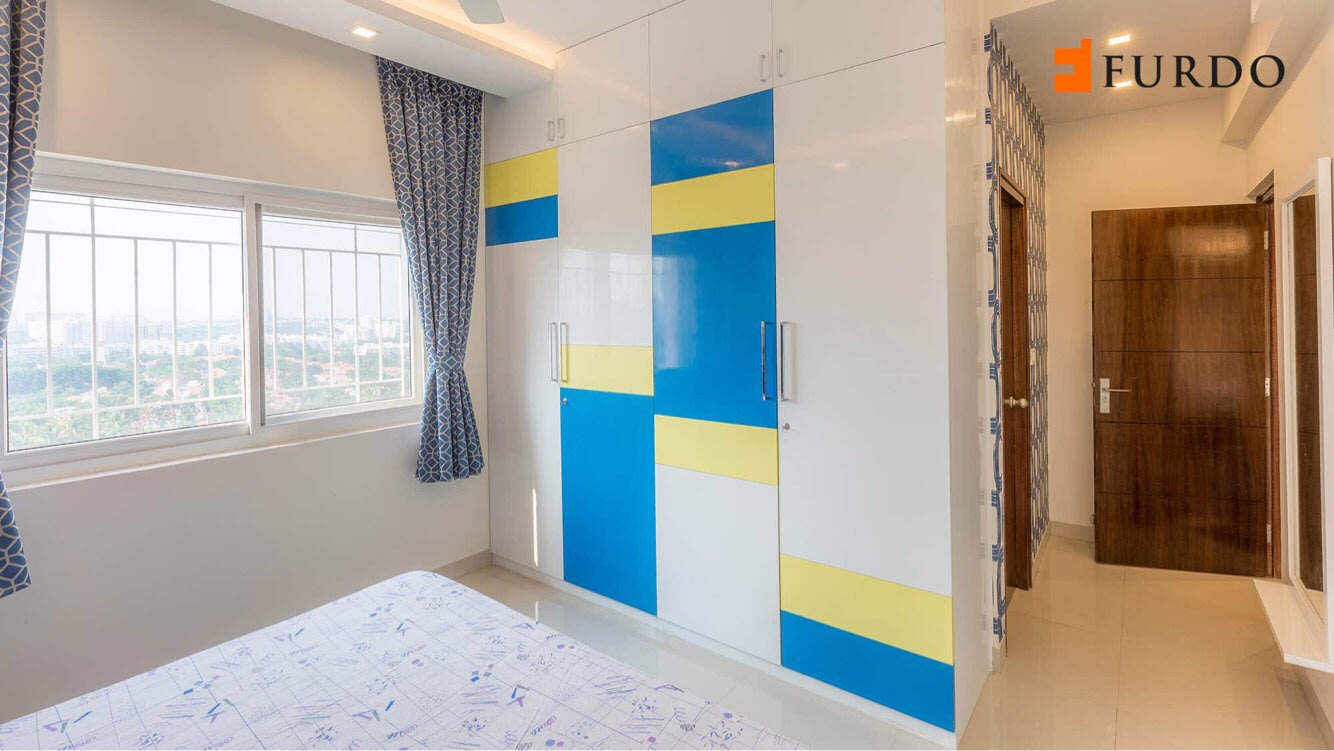 Yellow And Blue Shade Cupboards by Furdo.com Bedroom Modern | Interior Design Photos & Ideas