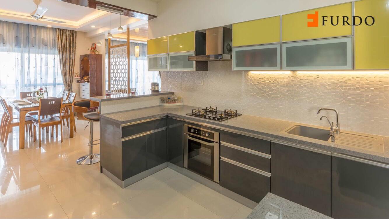 L shape Kitchen With  Green Modular Cabinets by Furdo.com Modular-kitchen Modern | Interior Design Photos & Ideas