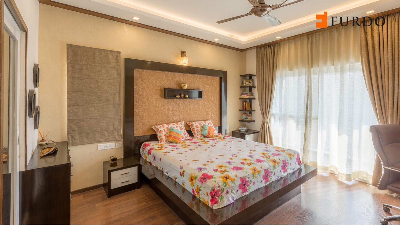 Bedroom With Wooden Flooring and false ceiling by Furdo.com Bedroom Modern | Interior Design Photos & Ideas