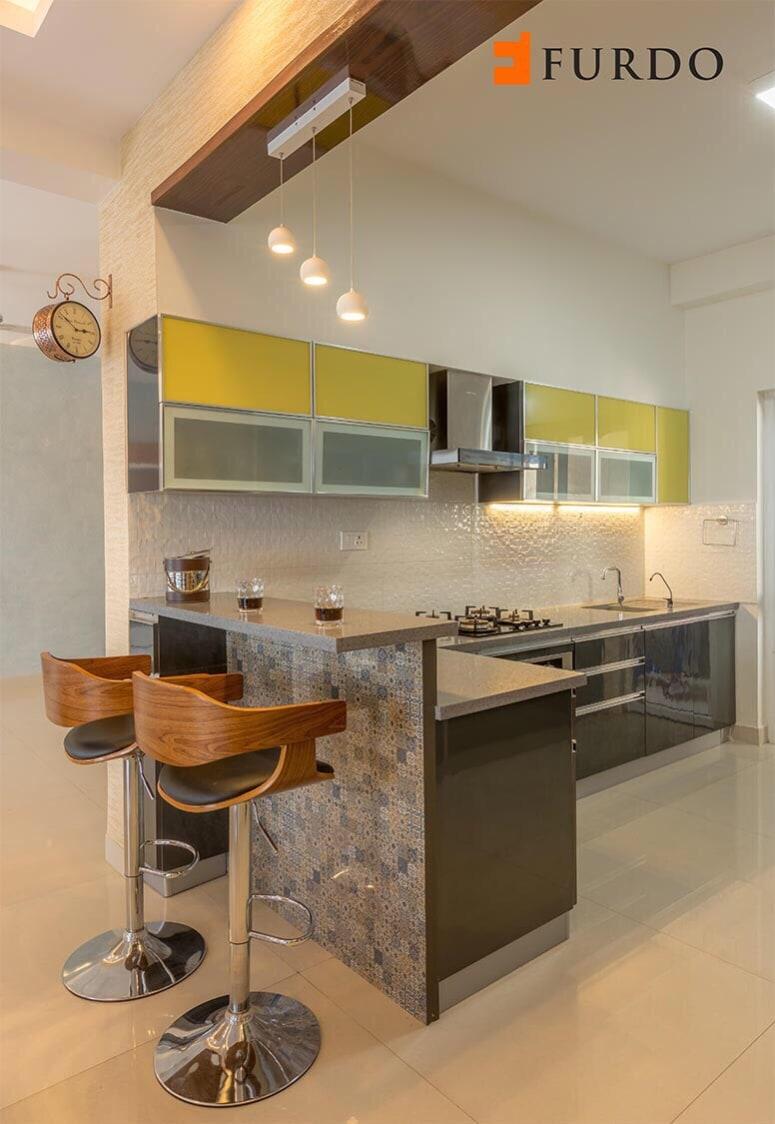 L shape Kitchen With Marble Flooring by Furdo.com Modular-kitchen Modern | Interior Design Photos & Ideas