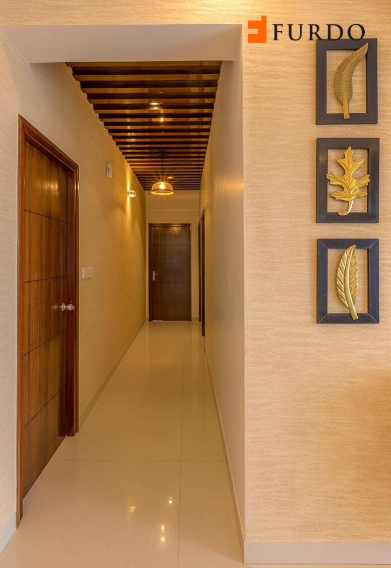Hallway With Marble Flooring and false ceiling by Furdo.com Indoor-spaces Modern | Interior Design Photos & Ideas