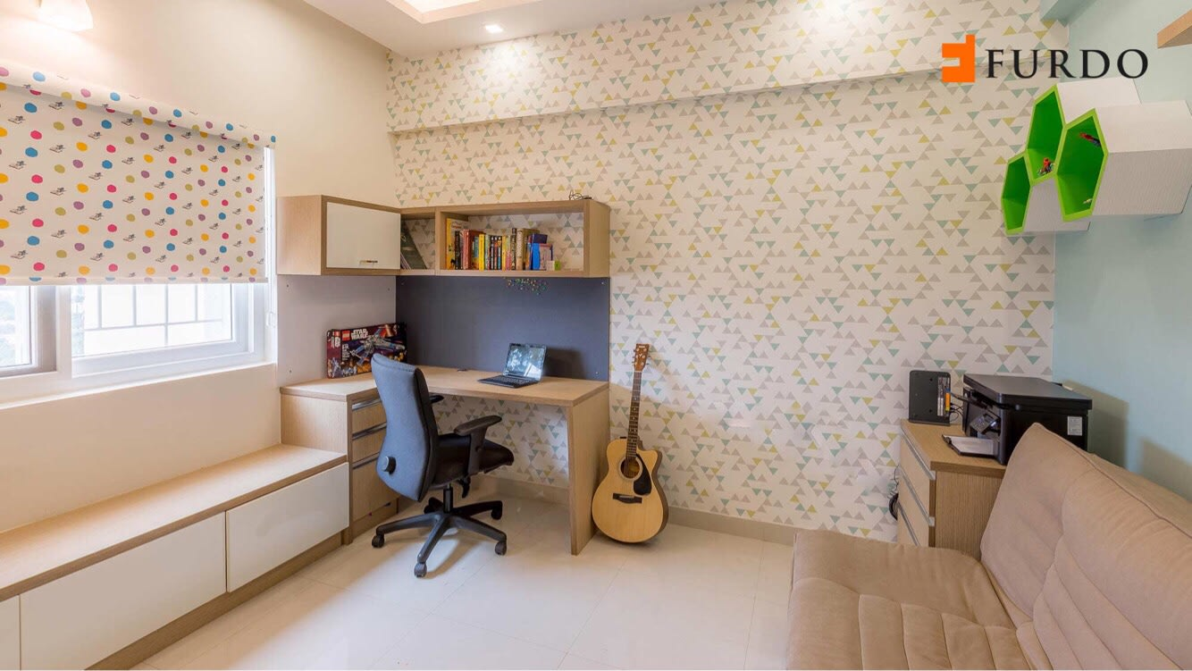 Study Room With Wall Art and marble flooring by Furdo.com Indoor-spaces Modern | Interior Design Photos & Ideas