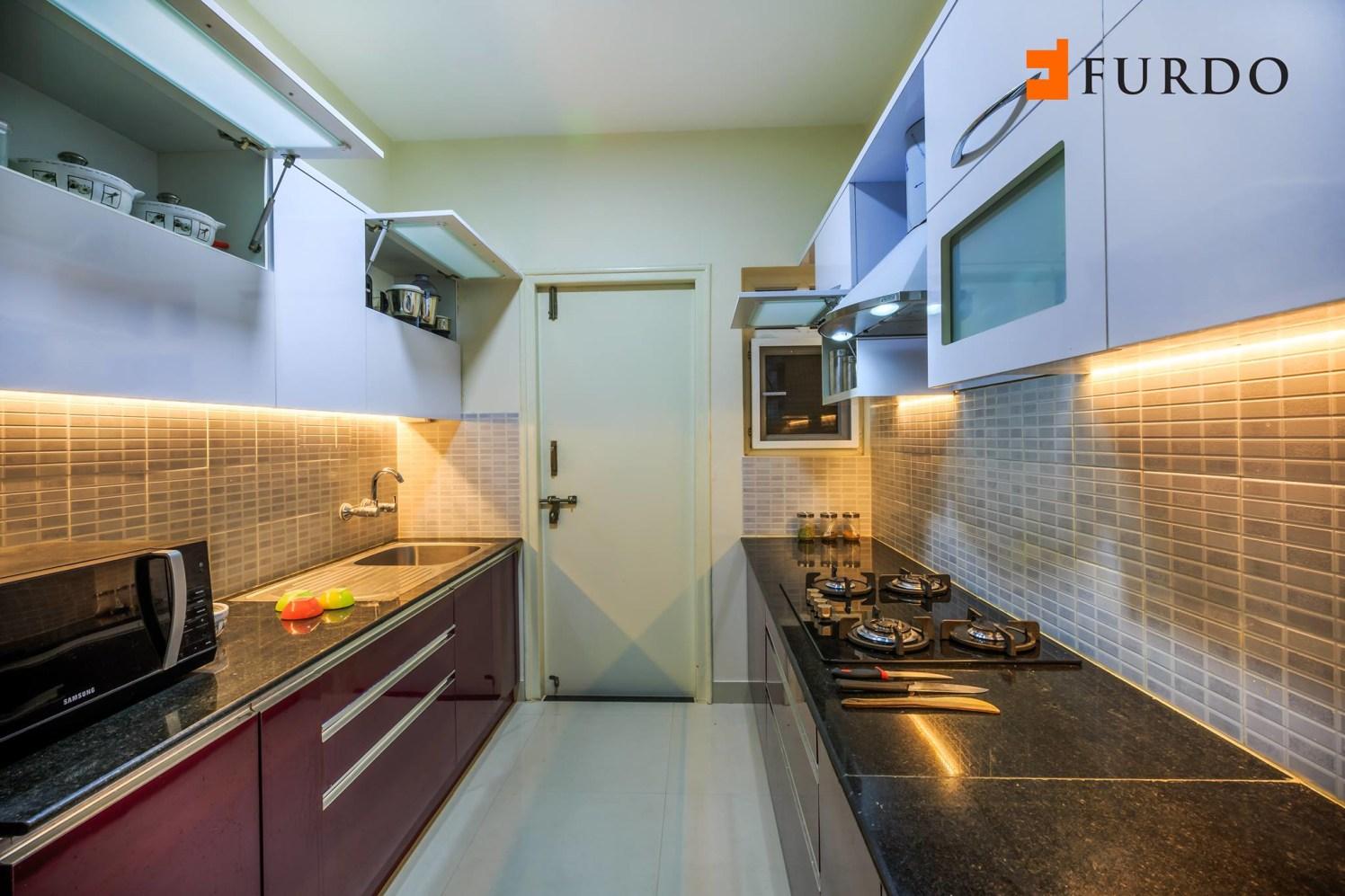 Parallel Kitchen With Marble Top Cabinets by Furdo.com Modular-kitchen Modern   Interior Design Photos & Ideas